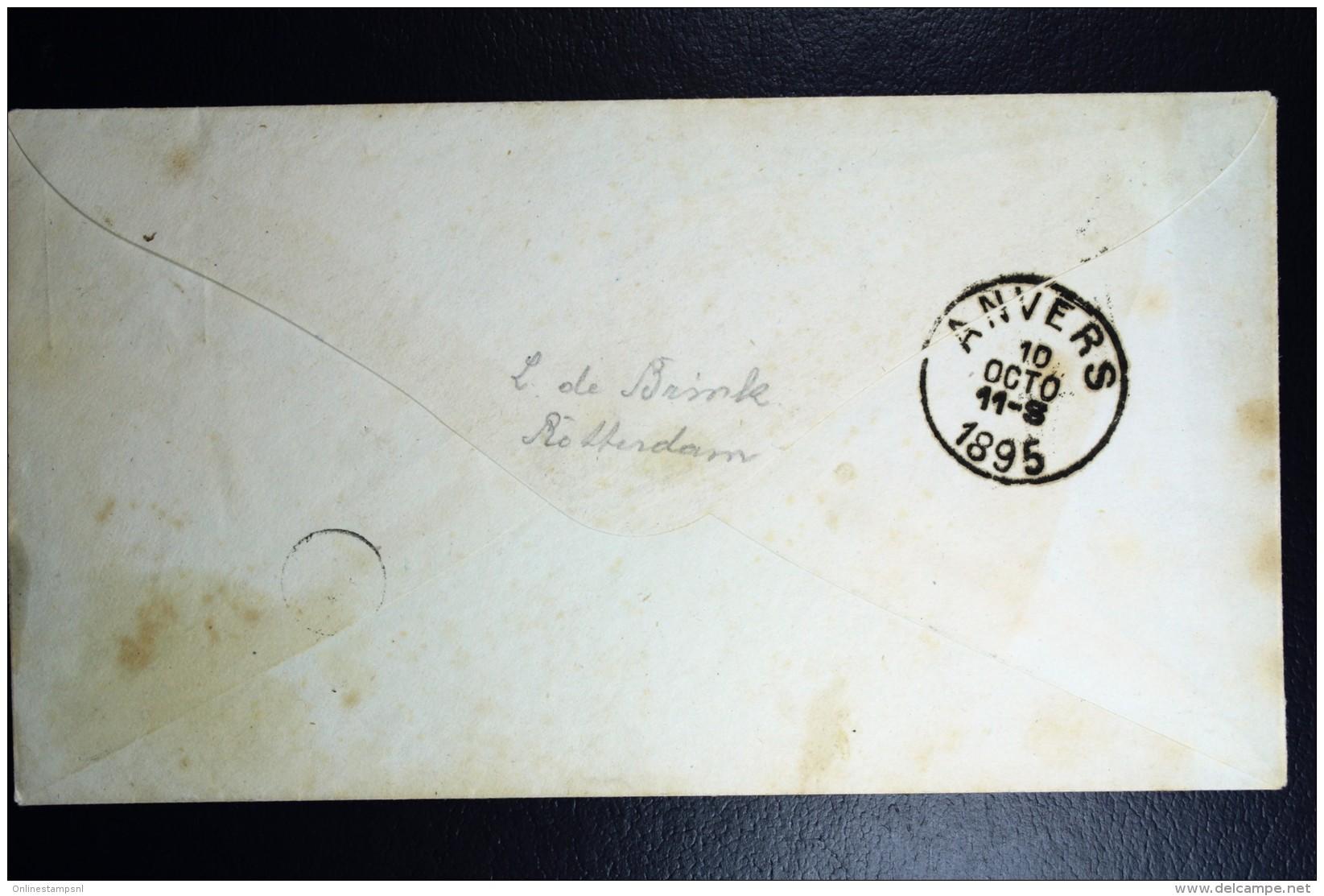Nederland  Postwaardestuk Met Mengfrankering  Nr 32+33 + 34 Treinstempels Amsterdam - Antwerpen 1895 - Periode 1891-1948 (Wilhelmina)