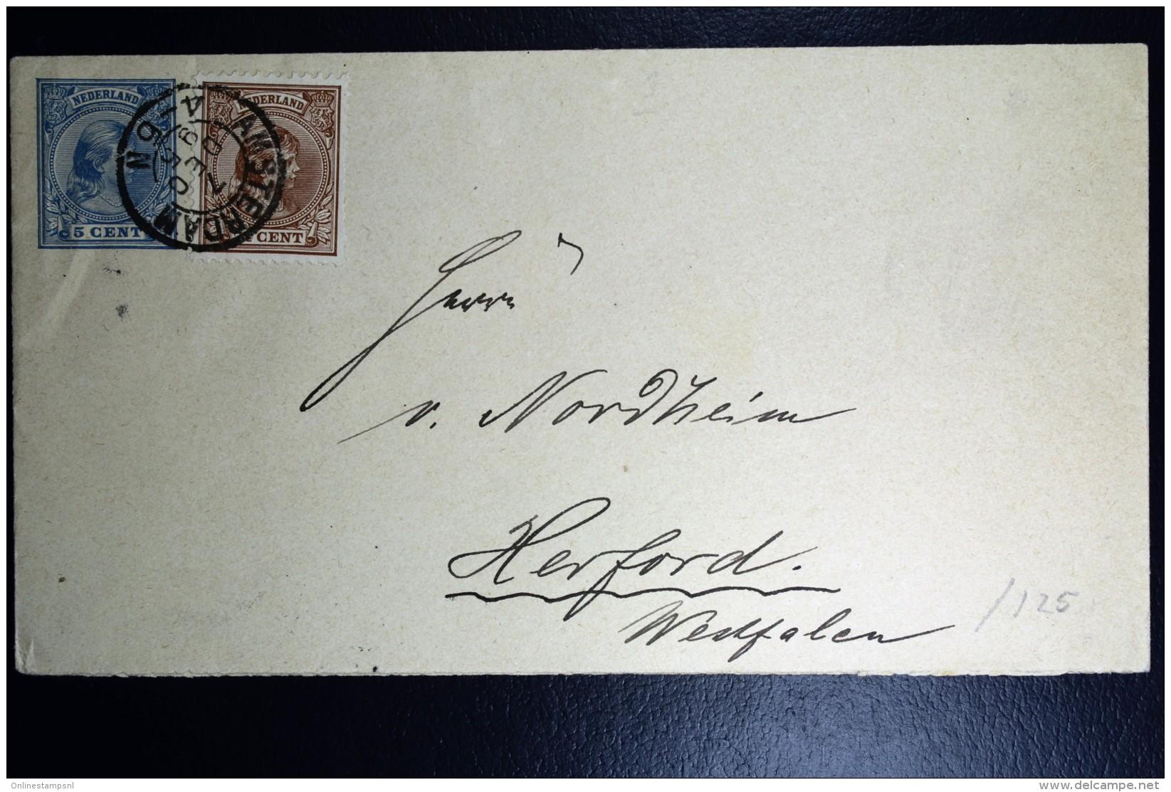 Nederland  Postwaardestuk Dubbelfrankering Met NVPH 36 Amsterdam Naar Herford Duits. 1895 - Periode 1891-1948 (Wilhelmina)