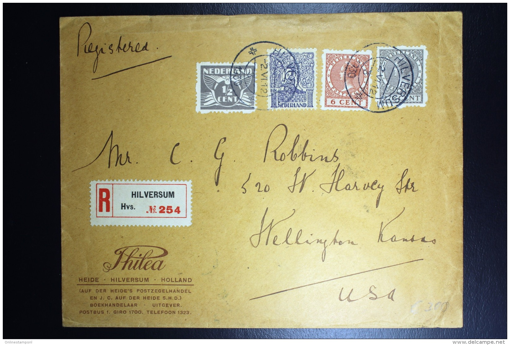 Nederland Aangetekende Enveloppe Hilversum Wellington USA Met O.m. R23 + R33 + R52 Mengfrankering - Periode 1891-1948 (Wilhelmina)