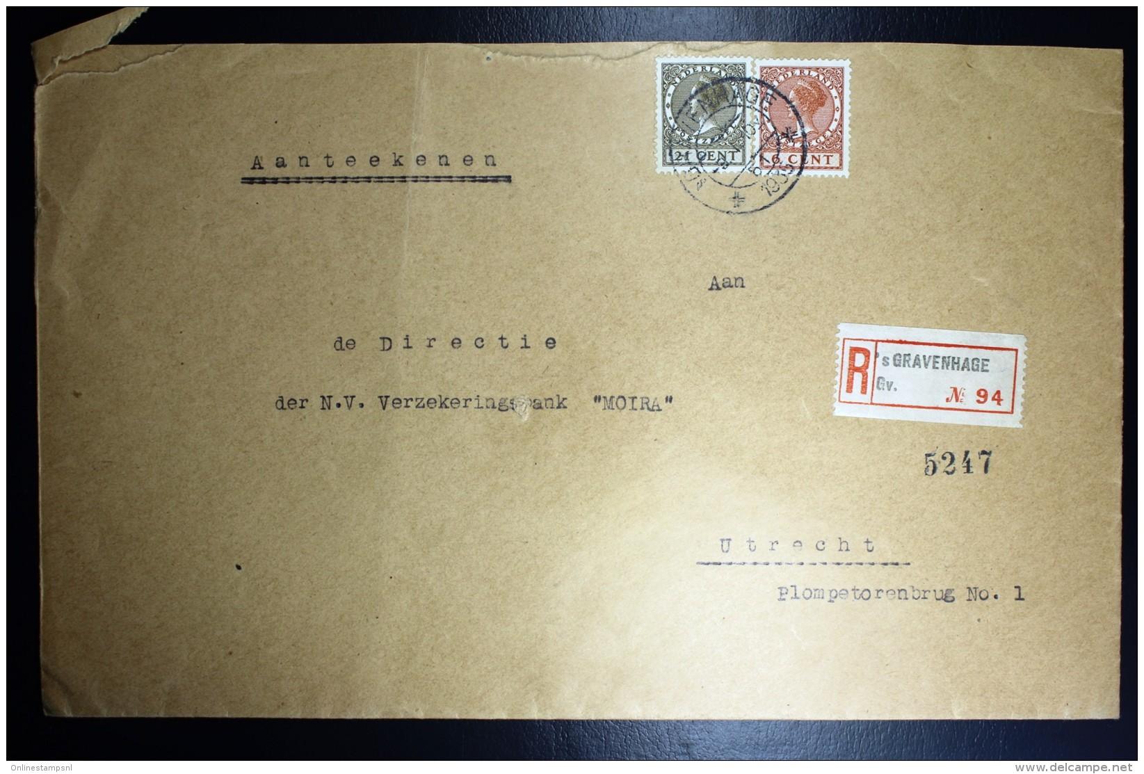 Nederland Aangetekende Enveloppe Den Haag Naar Utrecht NVPH 178 + 189 Dubbelfrankering - Periode 1891-1948 (Wilhelmina)