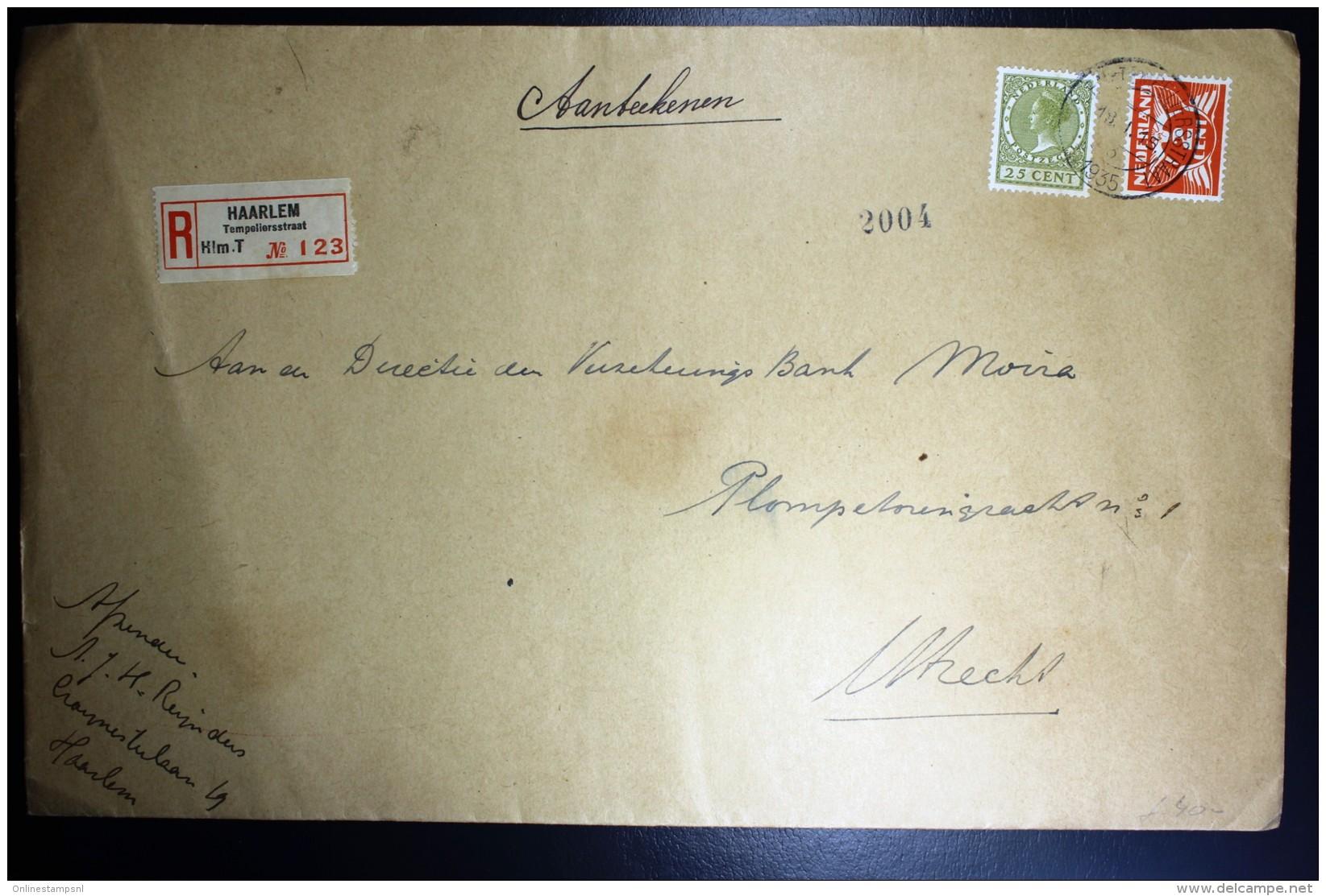 Nederland Aangetekende Enveloppe Haarlem Naar Utrecht NVPH 173 + 192 Mengfrankering - Periode 1891-1948 (Wilhelmina)