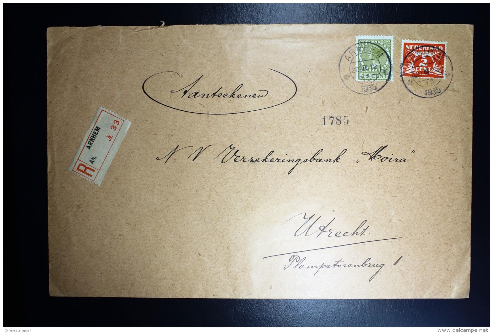 Nederland Aangetekende Enveloppe Arnhem Naar Utrecht NVPH 173 + 192 Mengfrankering - Periode 1891-1948 (Wilhelmina)