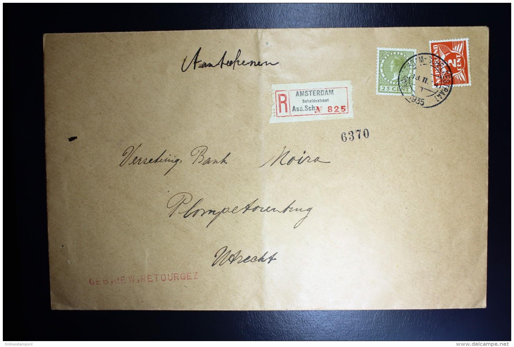 Nederland Aangetekende Enveloppe Amsterdam Naar Utrecht NVPH 173 + 192 Mengfrankering - Periode 1891-1948 (Wilhelmina)