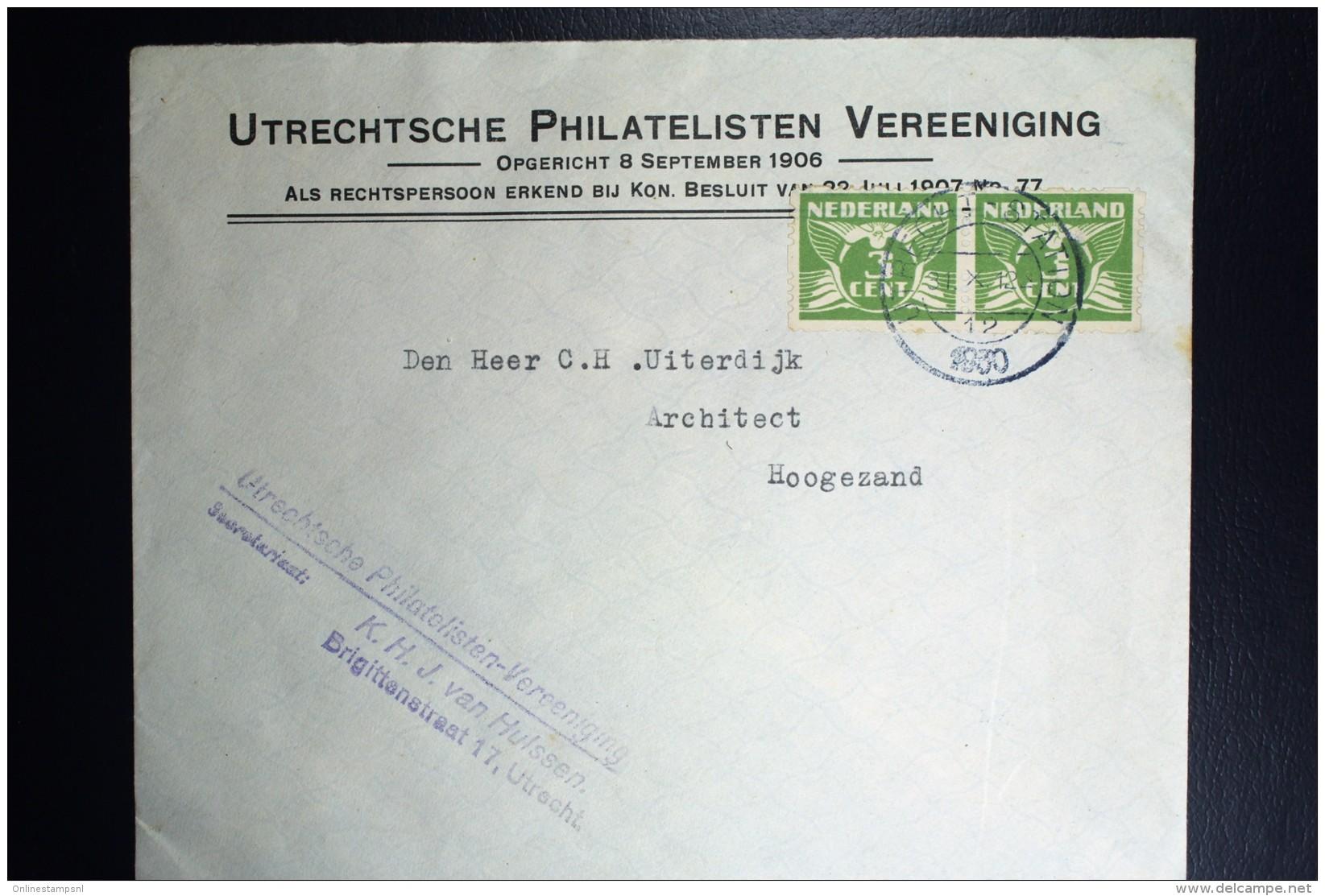 Nederland  Brief Met Paartje NVPH  R 38  Utrechtse Philatelisten Vereeniging 1930 - Periode 1891-1948 (Wilhelmina)