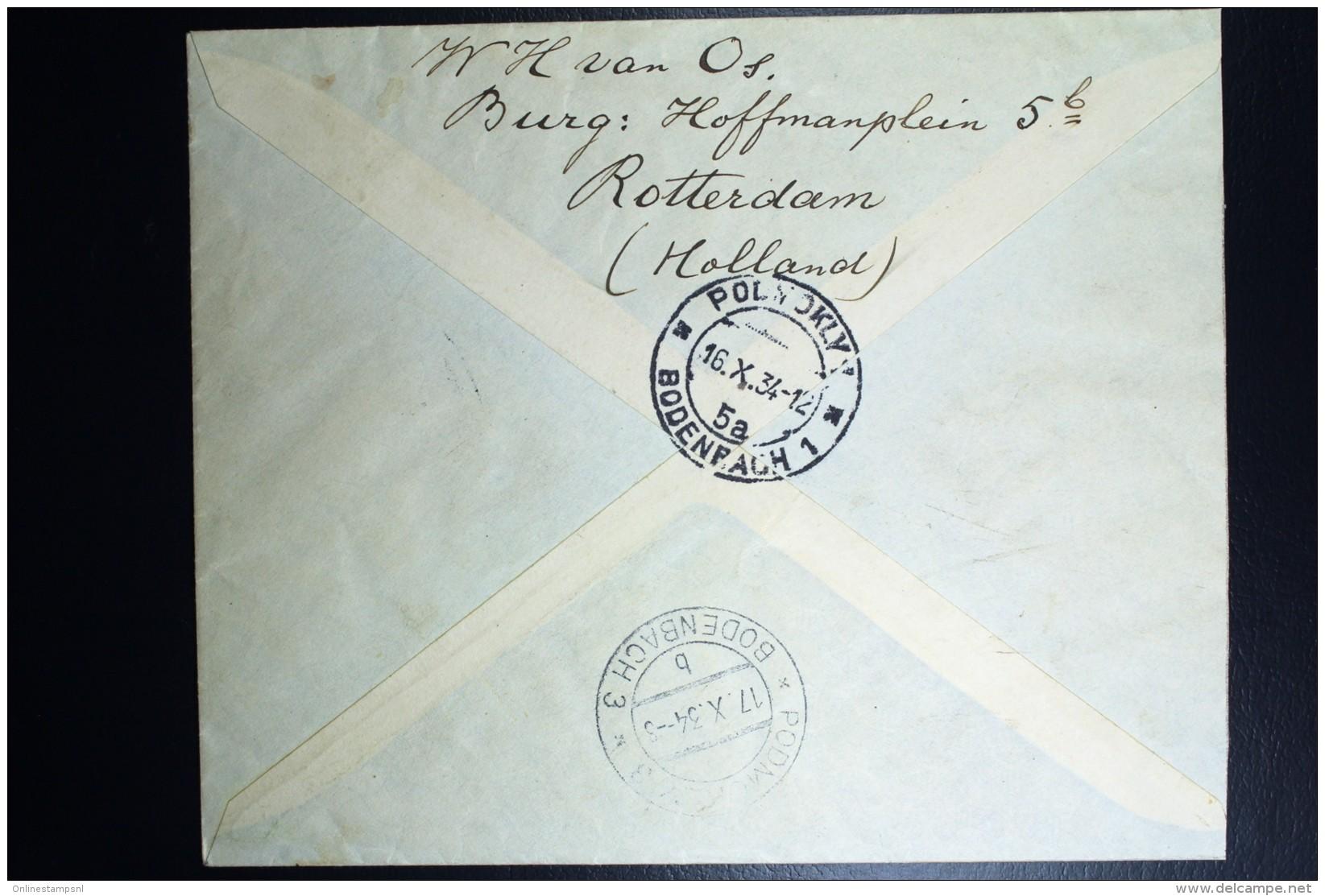 Nederland  Aangetekende Brief Rotterdam Naar Bodenbach 1934 Mengfrankering Nr 126 + 171 + 257 - Periode 1891-1948 (Wilhelmina)