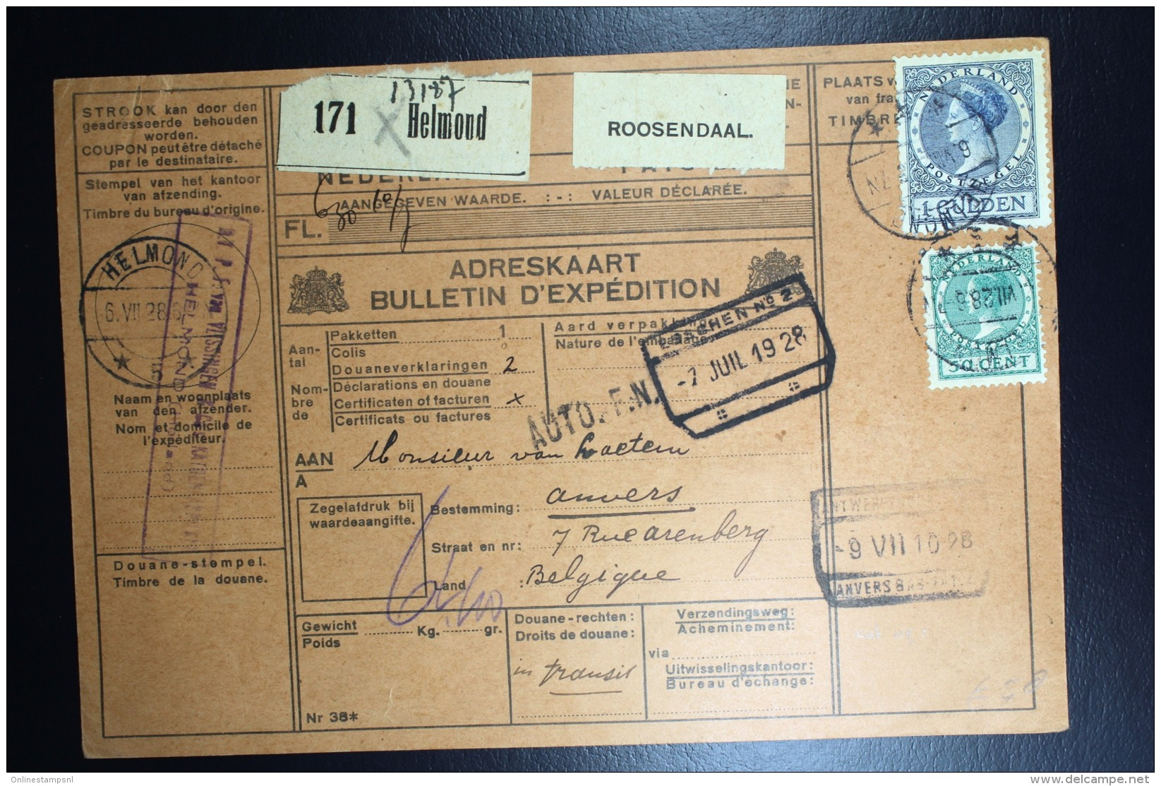 Nederland Pakketkaart 1928 Helmond Antwerpen  NVPH 161 + 163 Dubbelfrankering - Periode 1891-1948 (Wilhelmina)