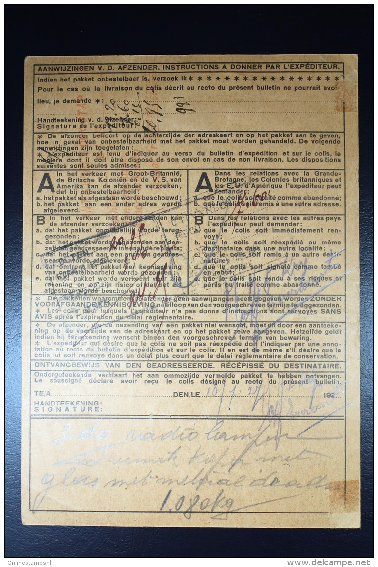 Nederland Pakketkaart 1927 Rotterdam Antwerpen  NVPH 158 + 163 Dubbelfrankering - Periode 1891-1948 (Wilhelmina)