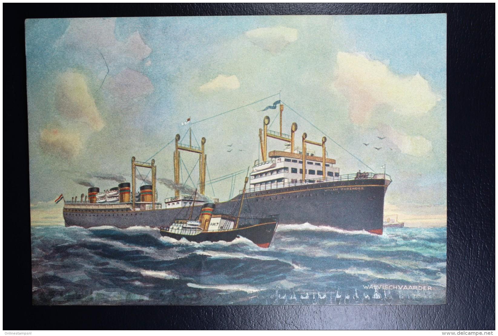 Nederland Walvis Vaart Kaart Willem Barentz Afgestempeld Aan Boord 1947, Zuidelijke IJszee Klein Plakrandje Onderzijde - Periode 1891-1948 (Wilhelmina)