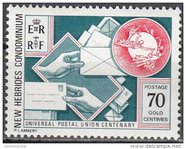 Nouvelles Hebrides 1974 Michel 399 Neuf ** Cote (2005) 1.20 Euro 100 Ans UPU - Englische Legende