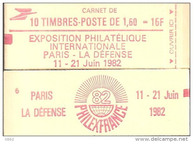 """CARNET 2187-C2c Liberté De Delacroix """"PHILEXFRANCE 82"""" Avec """"10 Sous Logo"""" Conf.6 Fermé Bas Prix Parfait état RARE - Usage Courant"""