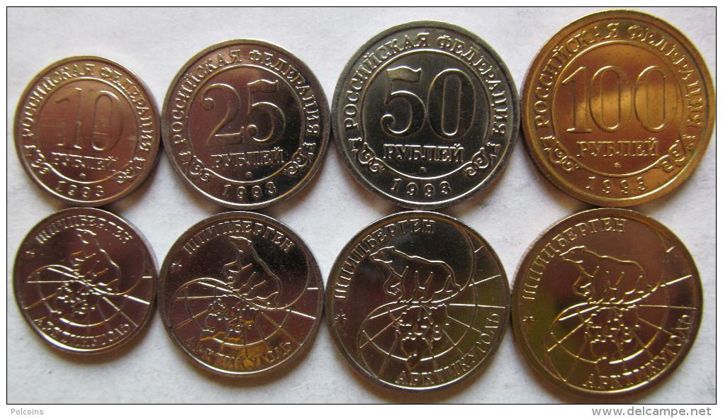 "Spitzbergen - Russia Set Of 4 Coins 1993 ""10+25+50+100 Roubles"" UNC KM# Tn5-Tn8 - Rusia"