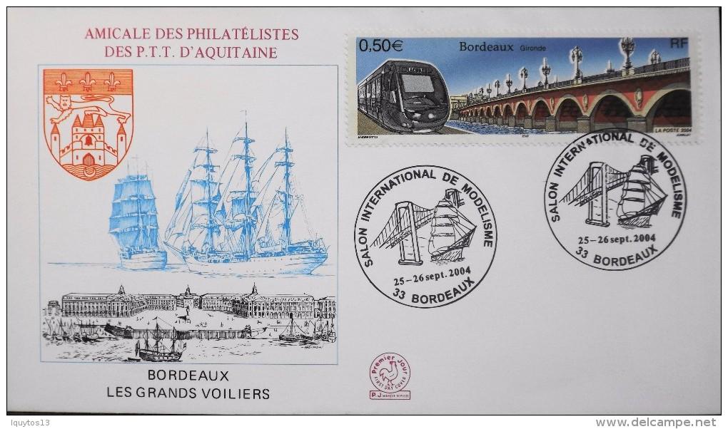 FR. 2003 - Enveloppe - Bordeaux Les Grands Voiliers - Salon Intern. De Modélisme - Bordeaux 25/26.09.2004 - SUPERBE - - Bateaux