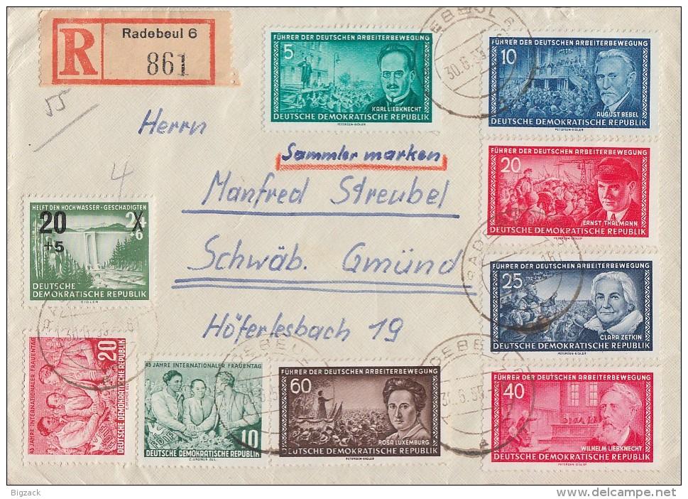 DDR R-Brief Mif Minr450,451,472-473, 475-478 449 Radebeul 30.6.55 - Briefe U. Dokumente
