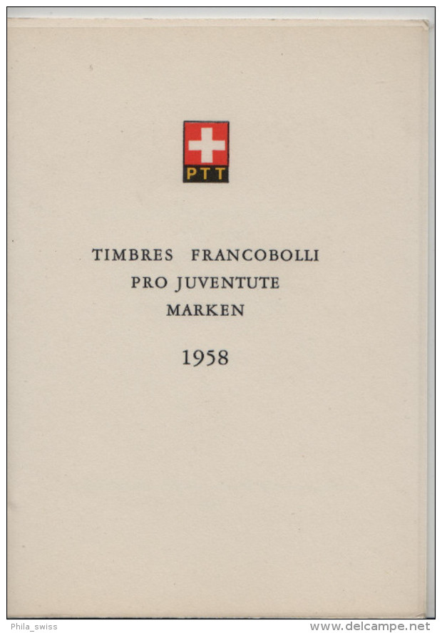 1958 Pro Juventute J173-J177 663-667 FD Ausgabetag - PTT Faltblatt Nr. 17 - Les Livrets PTT - Pro Juventute