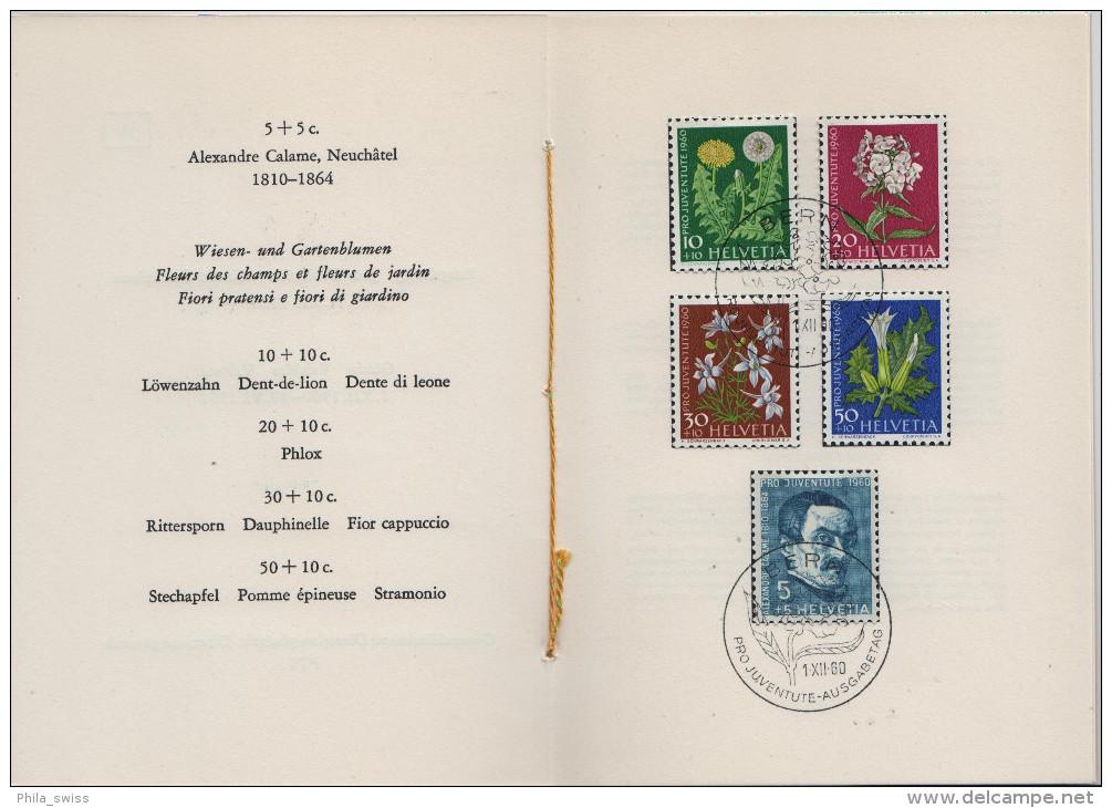 1960 Pro Juventute J183-J187 722-726 FD First Day - PTT Faltblatt Nr. 38 Jour D´emission - Pro Juventute