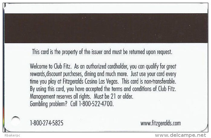 Fitzgerald´s Casino Las Vegas, NV - Slot Card - Rear Text Aligned  (BLANK) - Casino Cards