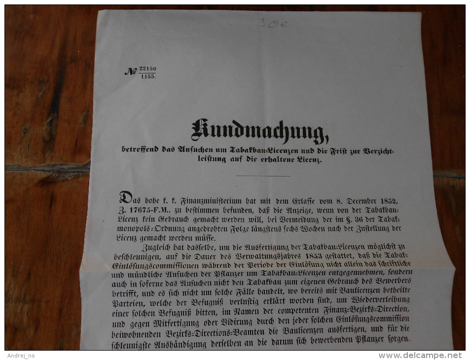 Publication Of The License To Sell Tobacco  1852 Temesvar  Serb Banat - Documents