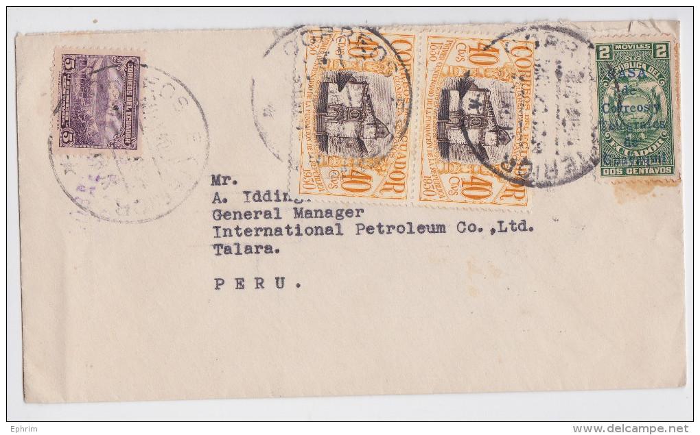 Equateur - Ecuador - Enveloppe Timbrée Affranchissement Guayaquil Pour Pérou - Air Mail Cover Cancellation To Peru - Equateur
