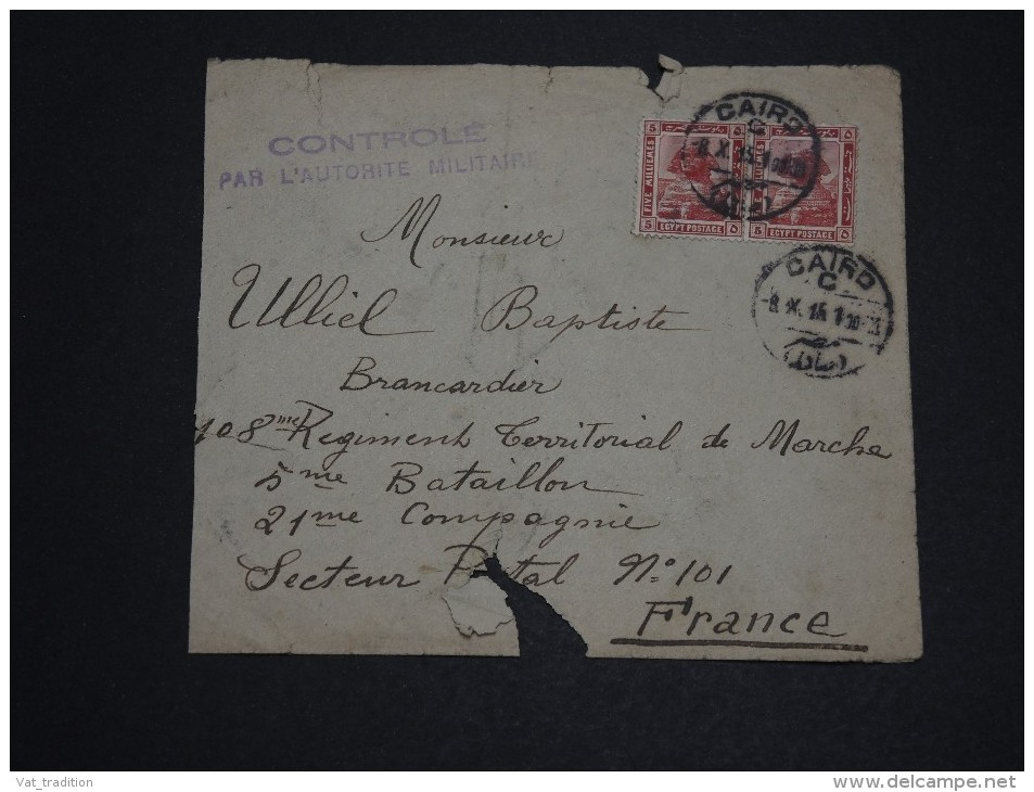 EGYPTE - Enveloppe Du Caire Pour La France Avec Contrôle Militaire En 1915 - A Voir - L 2314 - 1915-1921 Protectorat Britannique
