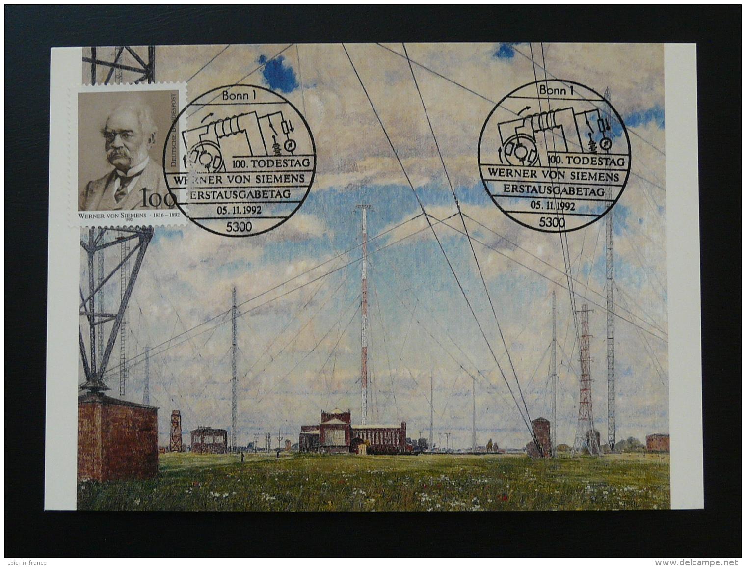 090-11 Telecommunications Werner Von Siemens Postmuseum Karte Carte Maximum Card Bonn 1992 - Telecom