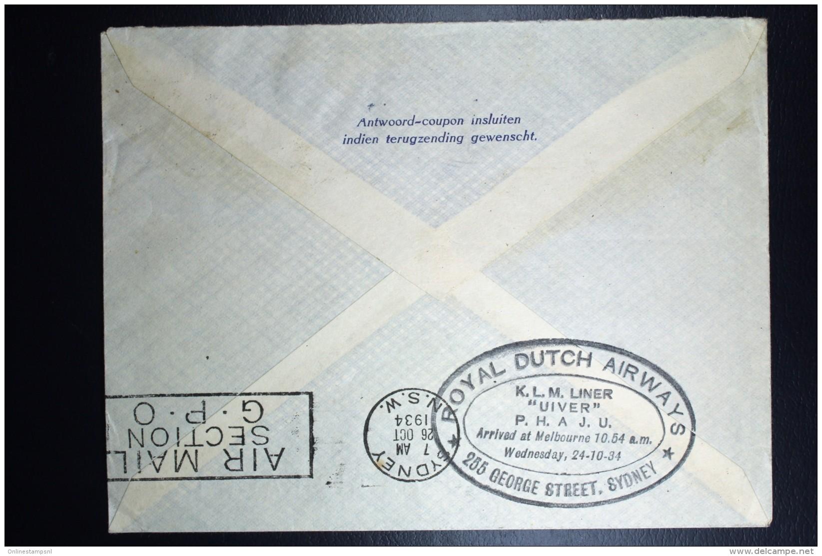 Netherlands: Mac Robertson Air Race UIVER PH.AJU Haarlem Vlagstempel Amsterdam London Sydney  Vlieg Hol 98  1934 - Periode 1891-1948 (Wilhelmina)