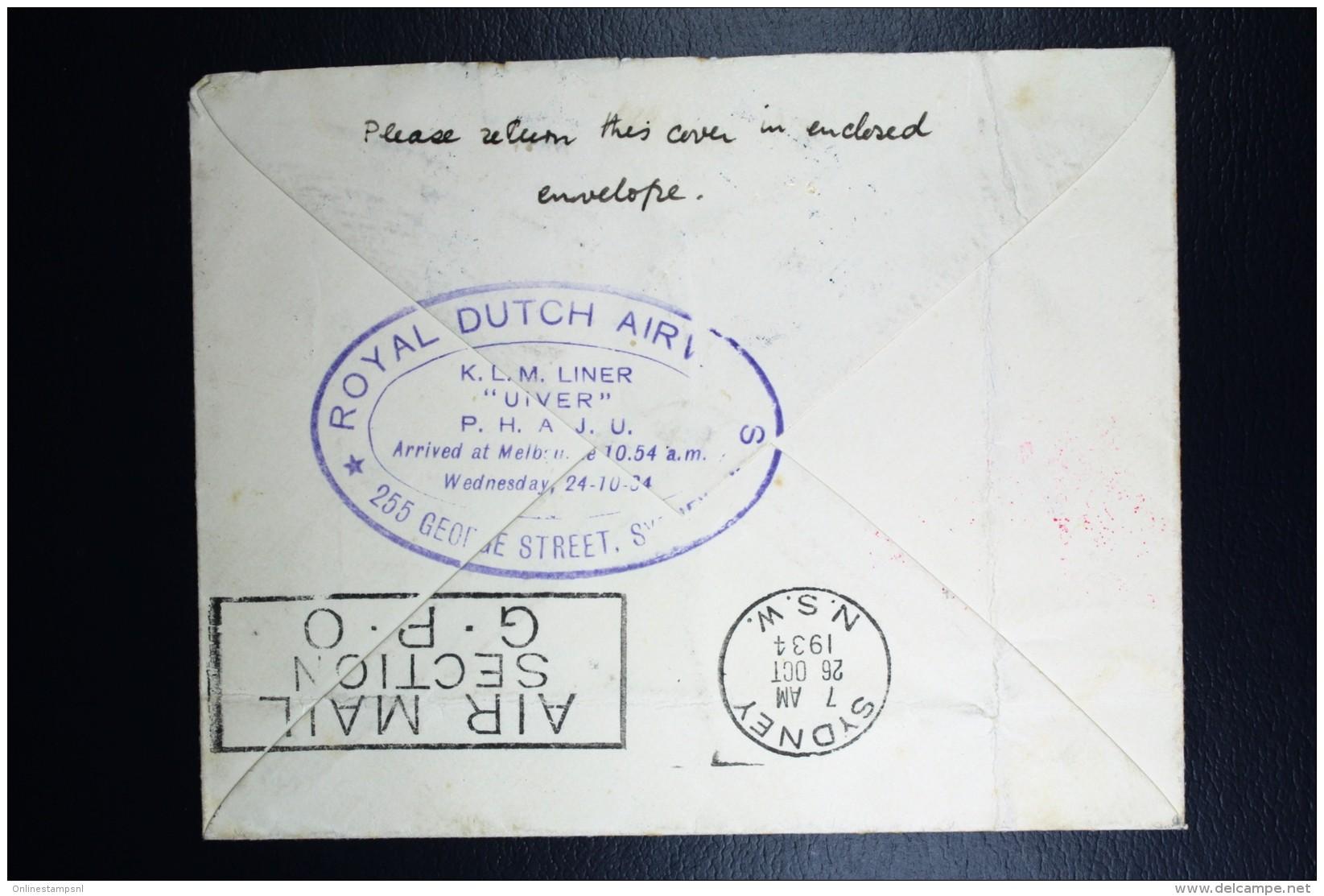 Netherlands: Mac Robertson Air Race UIVER PH.AJU Den Haag London Sydney  Vlieg Hol 98  1934 - Periode 1891-1948 (Wilhelmina)