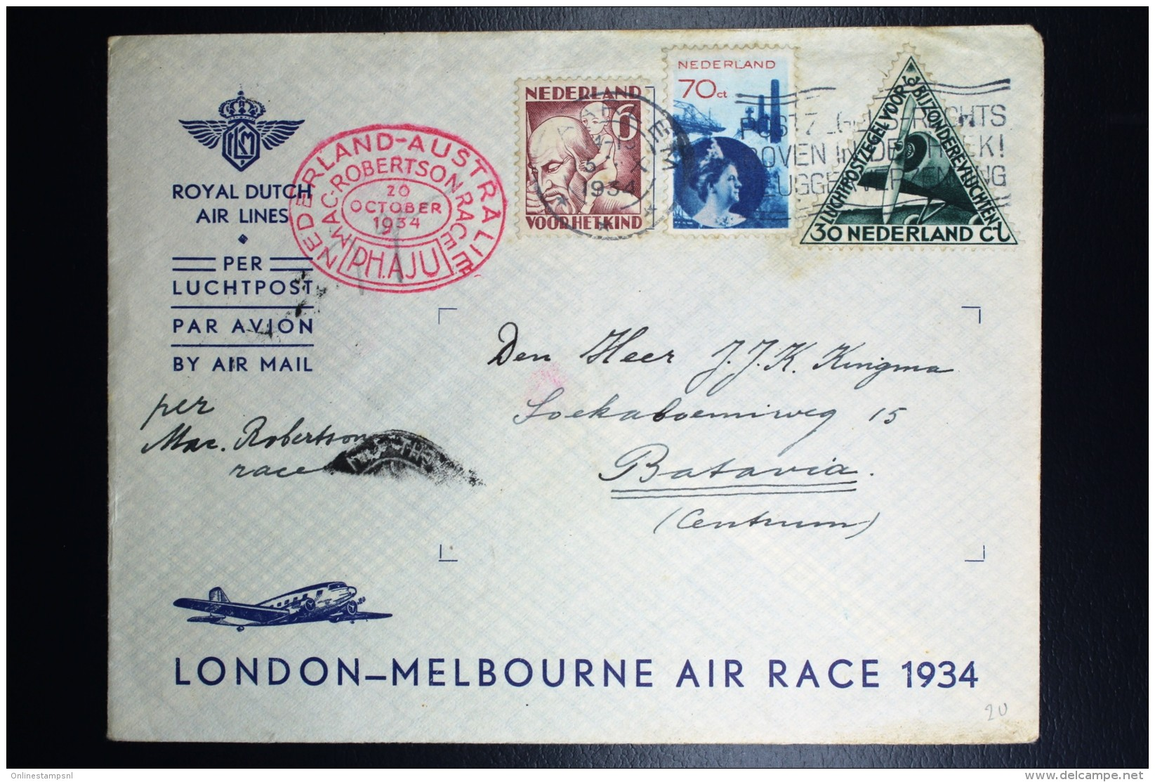 Netherlands: Mac Robertson Air Race UIVER PH.AJU Haarlem Vlagstemp London Sydney  Vlieg Hol 98  1934  Snelvlucht Stempel - Periode 1891-1948 (Wilhelmina)