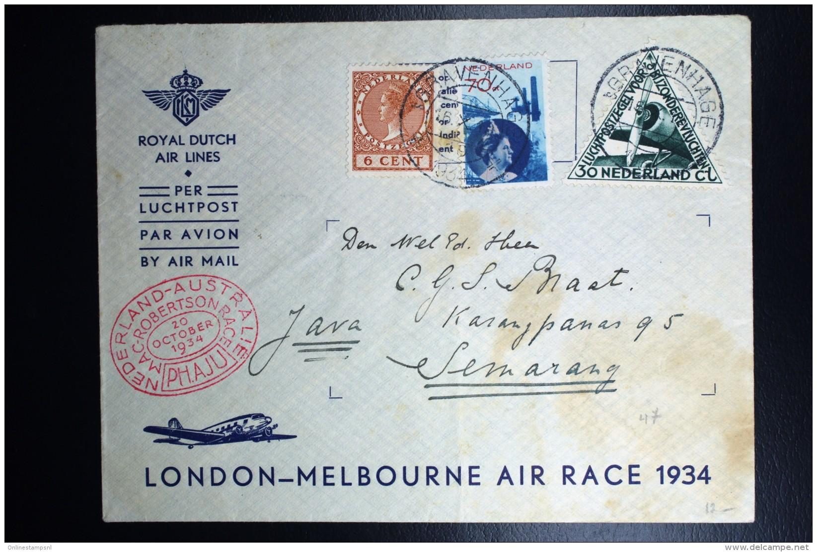 Netherlands: Mac Robertson Air Race UIVER PH.AJU Den Bosch London Sydney Semarang Vlieg Hol 98  1934  Snelvlucht St - Periode 1891-1948 (Wilhelmina)