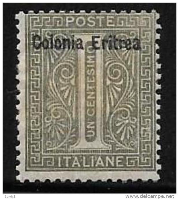 Eritrea, Scott # 1 Mint Hinged Italy Stamp Overprinted, 1892 - Eritrea