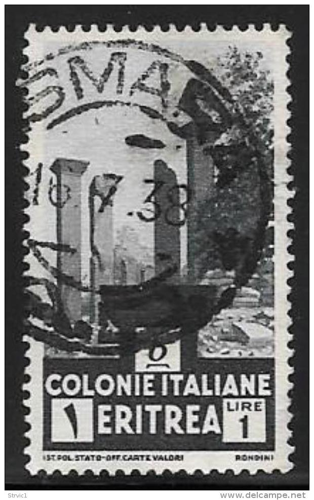 Eritrea, Scott # 164 Used Temple Ruins, 1934, Inverted Watermark - Eritrea
