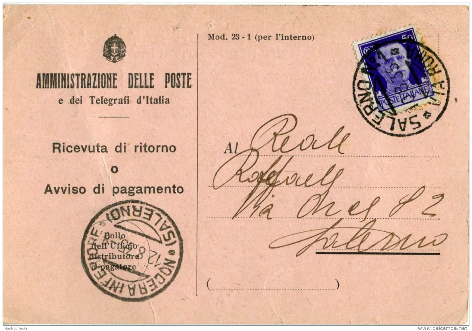 COMUNE DI SALERNO  Amministrazione Delle Poste E Telegrafi  Ricevuta Di Ritorno Per Nocera Inferiore  1935  50c - 1900-44 Vittorio Emanuele III