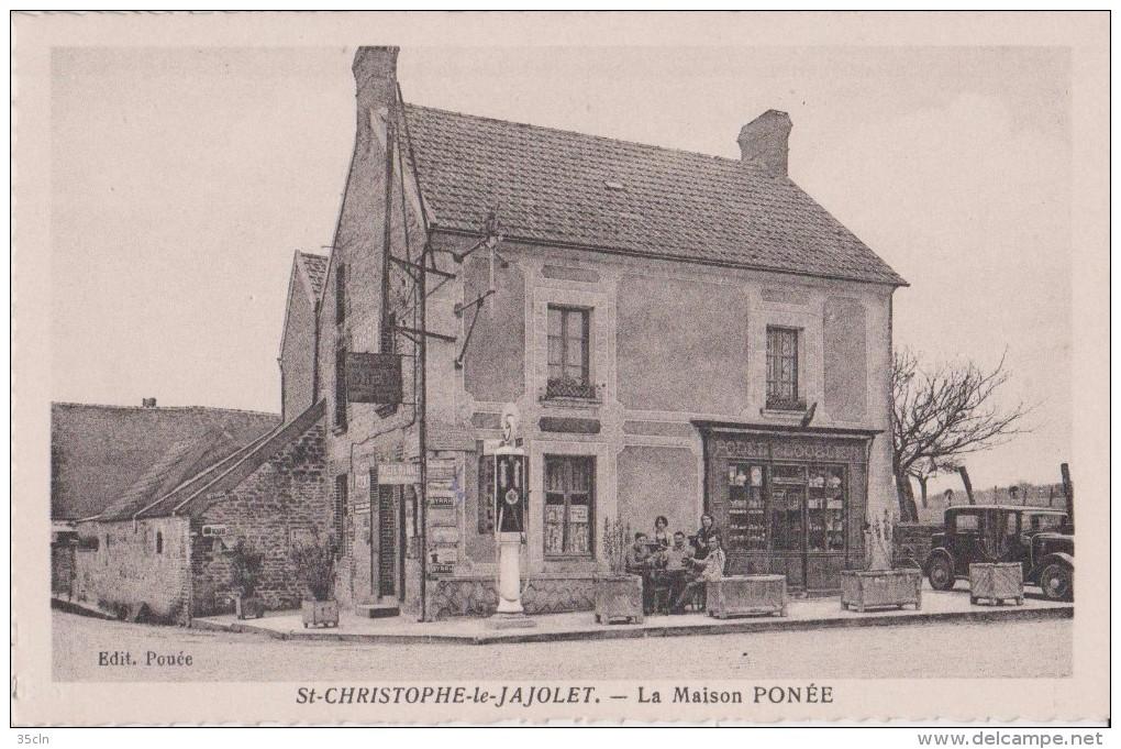 SAINT-CHRISTOPHE  Le JAJOVET - La Maison Ponée - Tabac, Pompe à Essence, Vieille Voiture, Personnages Devant La Maison. - France
