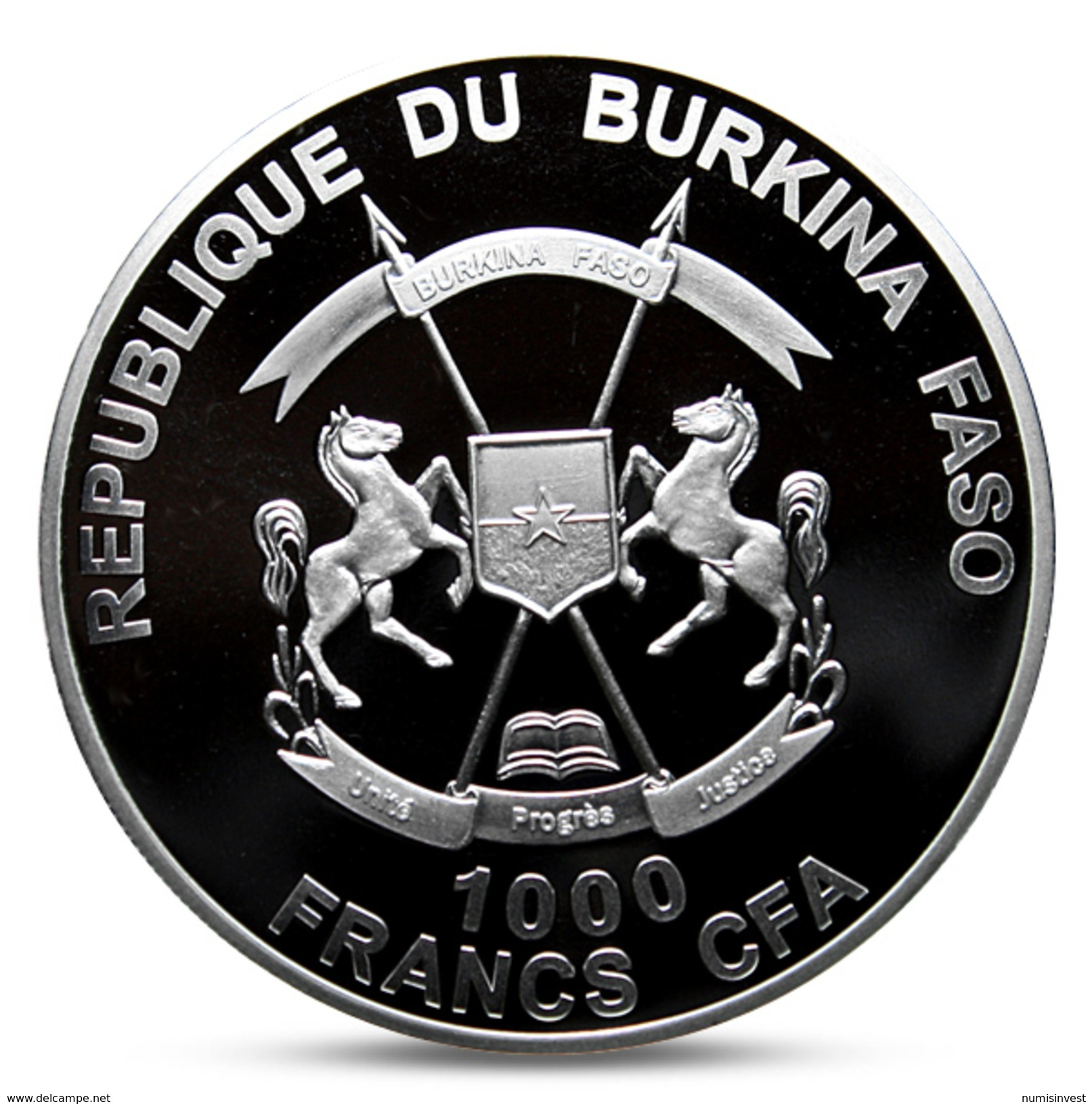 BURKINA FACO 1000 FRANCS FRA CROCODILE ANIMALS SILVER 2016 PROOF - Burkina Faso