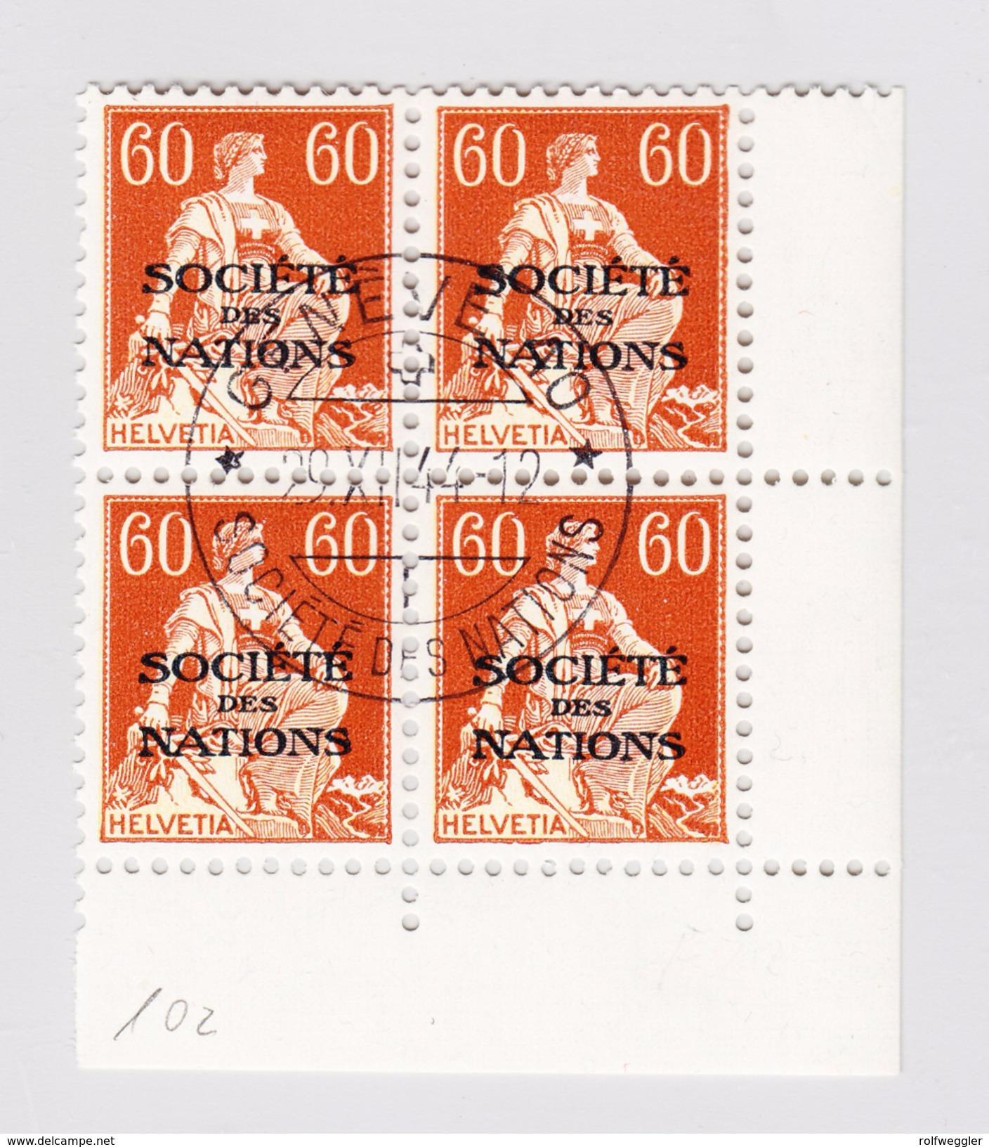 Schweiz Dienstmarken SDN DIII 1944 #10z 60Rp Im 4-er Block Gestempelt - Service