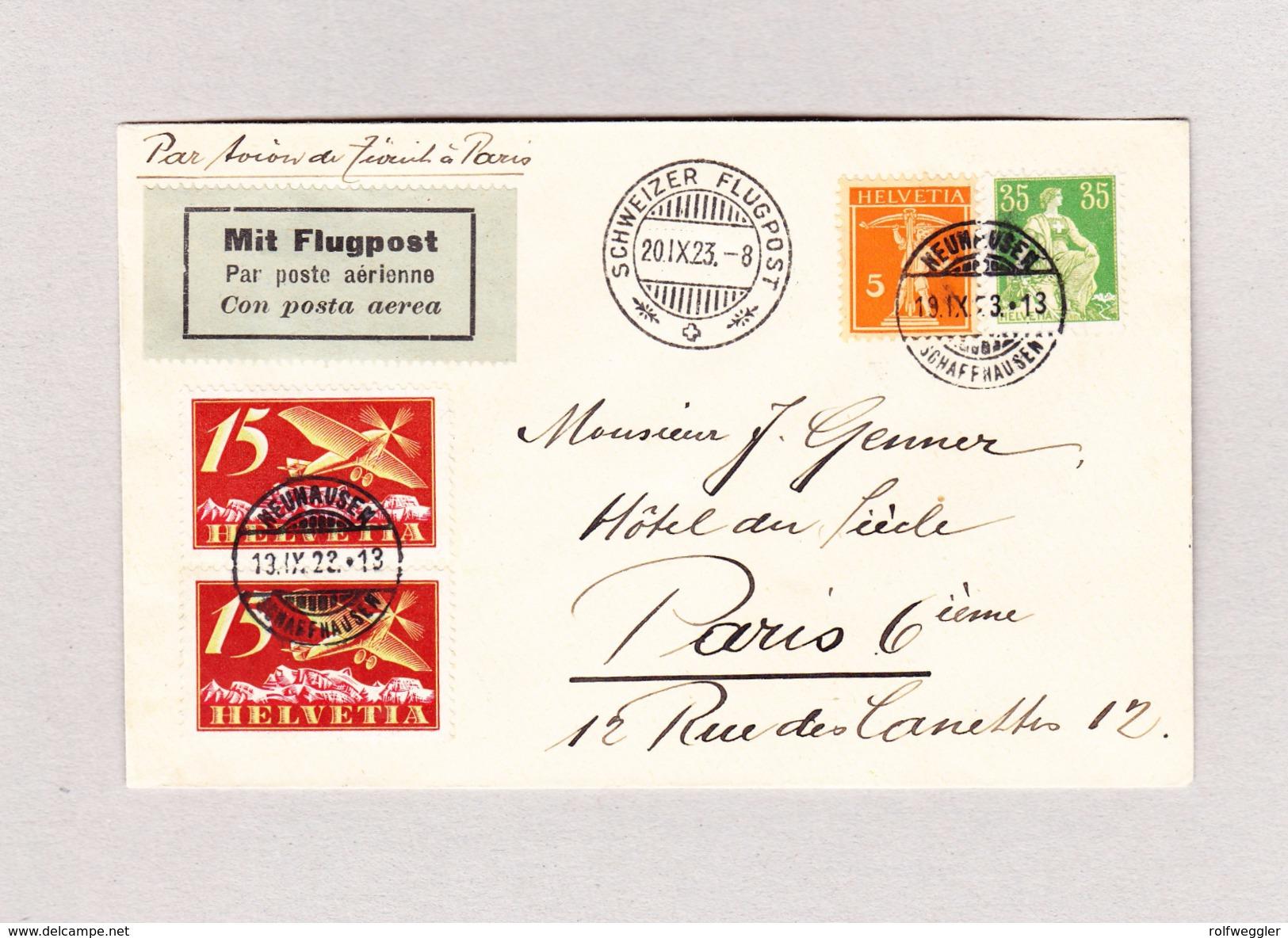 Schweiz Luftpost Handley Page  Schweizer Flugpost 20.9.1923 Brief Nach Paris Kommend Von Neuhausen SH - Poste Aérienne