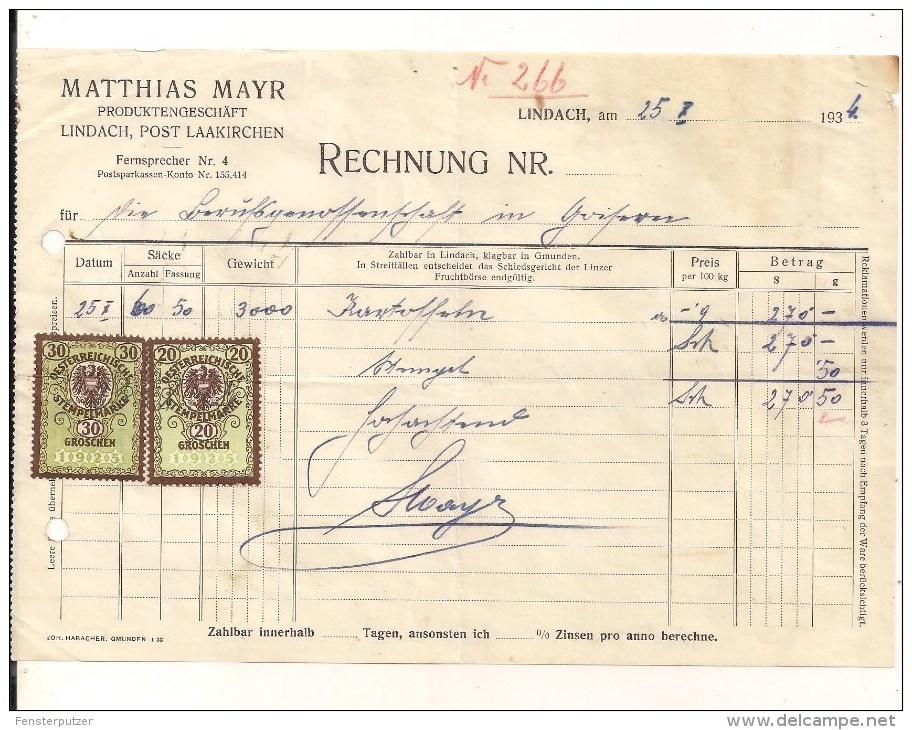 1 Rechnung Lindach 25.10.1934 Nach Goisern Mit 2 Aufgekl. Stempelm. 20 + 30 Groschen Aus 1925 - Österreich