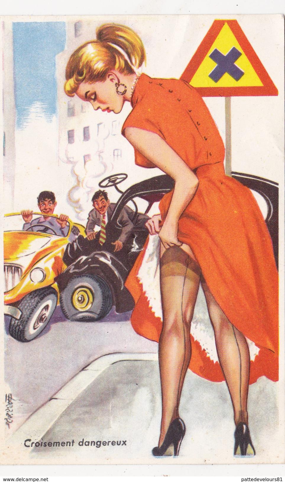 CPSM Accident Voiture Carrefour Dangereux Pin-up Sexy Bas Grivoise Humour Illustrateur CARRIERE N° 374 - Carrière, Louis