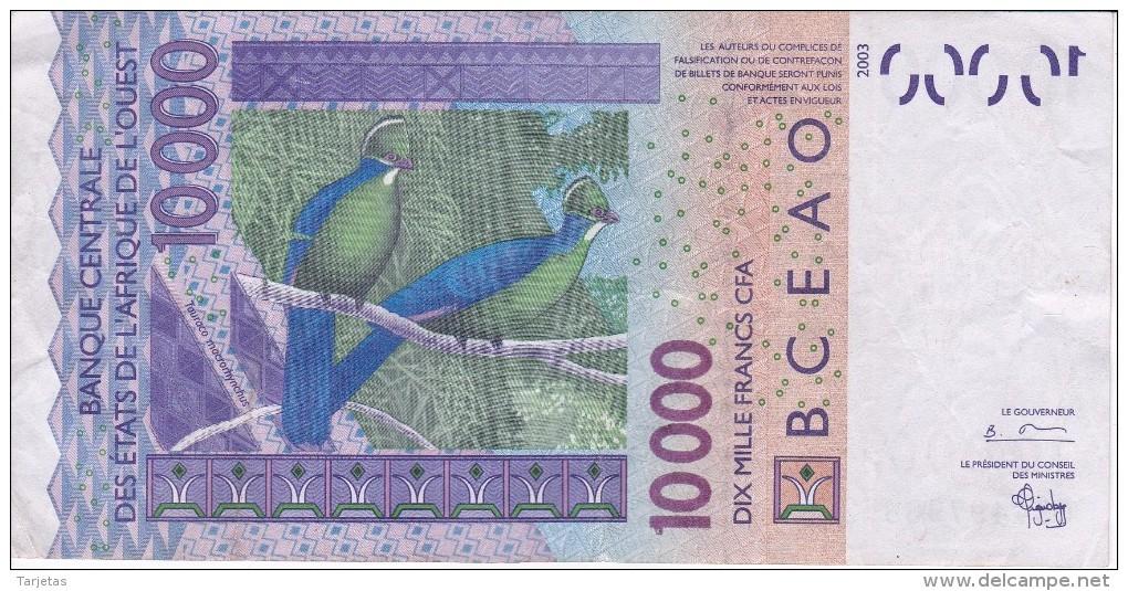 BILLETE DE 10000 FRANCS DEL BANCO CENTRAL DE ESTADOS DE AFRICA DEL OESTE LETRA S (BANKNOTE) - Banconote