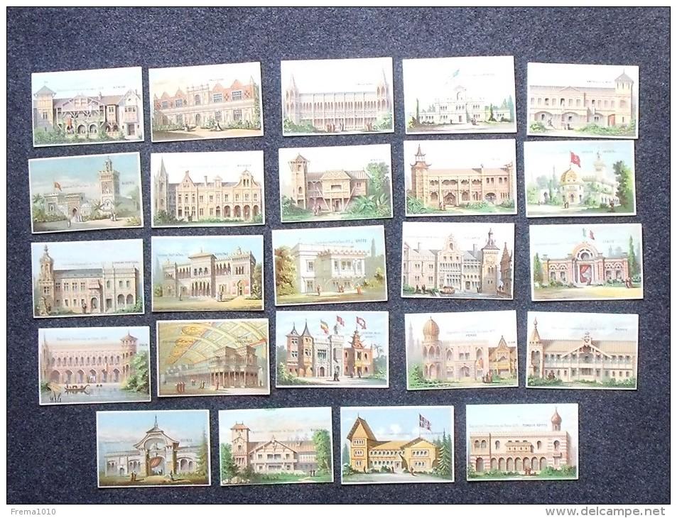 CHROMO Exposition Universelle De PARIS 1878: Lot 24 Pavillons Différents Des Pays Participants - Même Série - Trade Cards