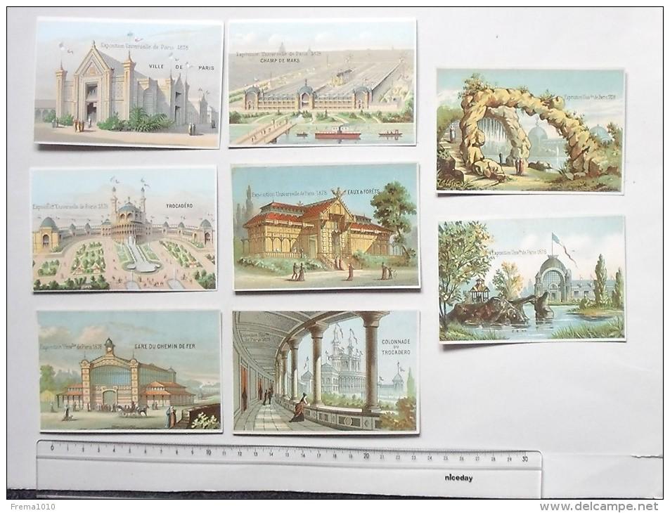 CHROMO Exposition Universelle De PARIS 1878: Lot 8 Différents Même Série - Trocadéro Champ De Mars Ville De Paris... - Trade Cards