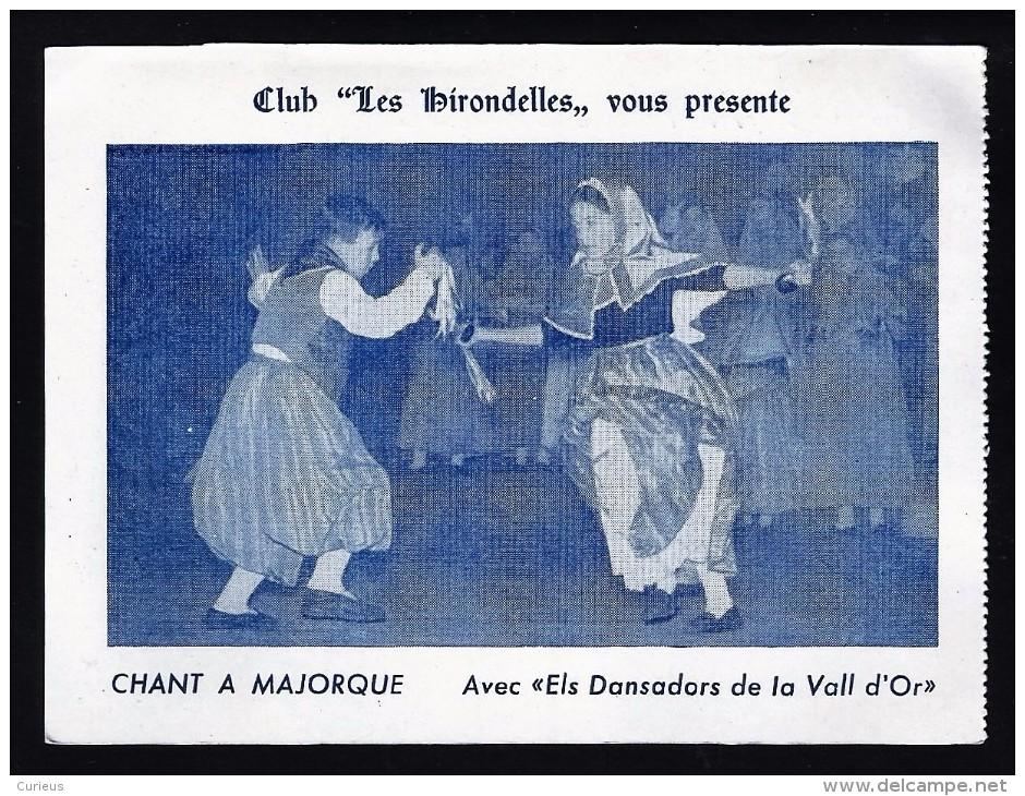"""MALLORCA * CLUB """" LES HIRONDELLES """" * LES DANSEURS DE LA VALL D'OR * 14.5 X 11 CM - Dépliants Touristiques"""