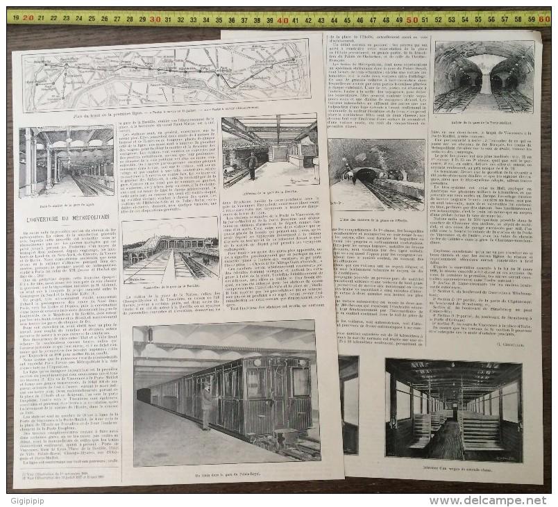DOCUMENT ANNEES 1900 PARIS L OUVERTURE DU METROPOLITAIN TRACE DE LA PREMIERE LIGNE DU METRO - Vieux Papiers