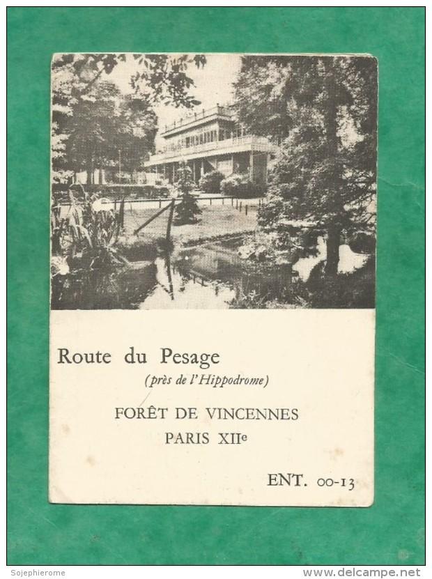 Calendrier 1964 Paris 12e Rôtisserie Du Plateau De Gravelle Forêt De Vincennes Route Du Pesage 3 Scans - Petit Format : 1961-70