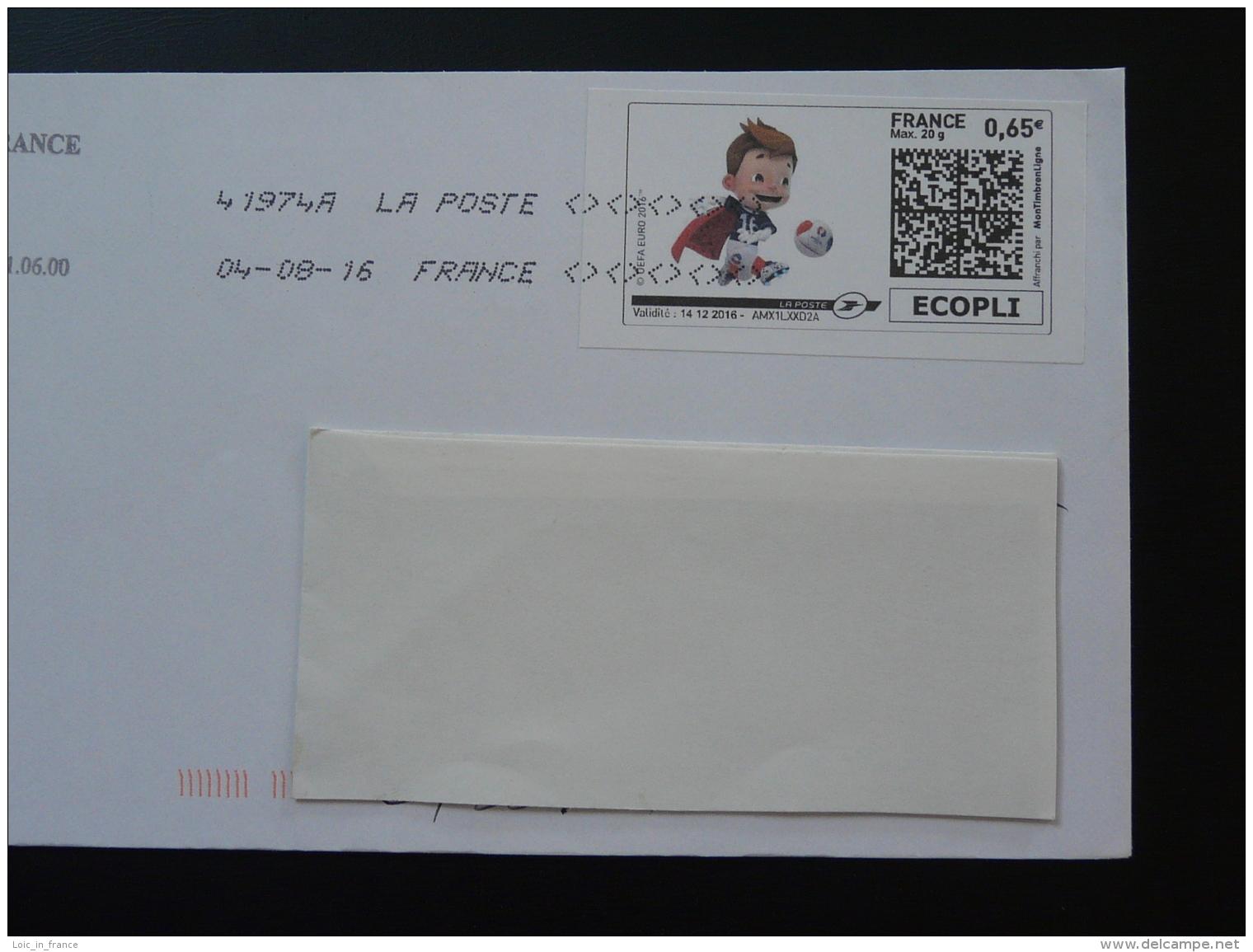 Football UEFA EURO 2016 Timbre En Ligne Sur Lettre (e-stamp On Cover) TPP 3214 - UEFA European Championship