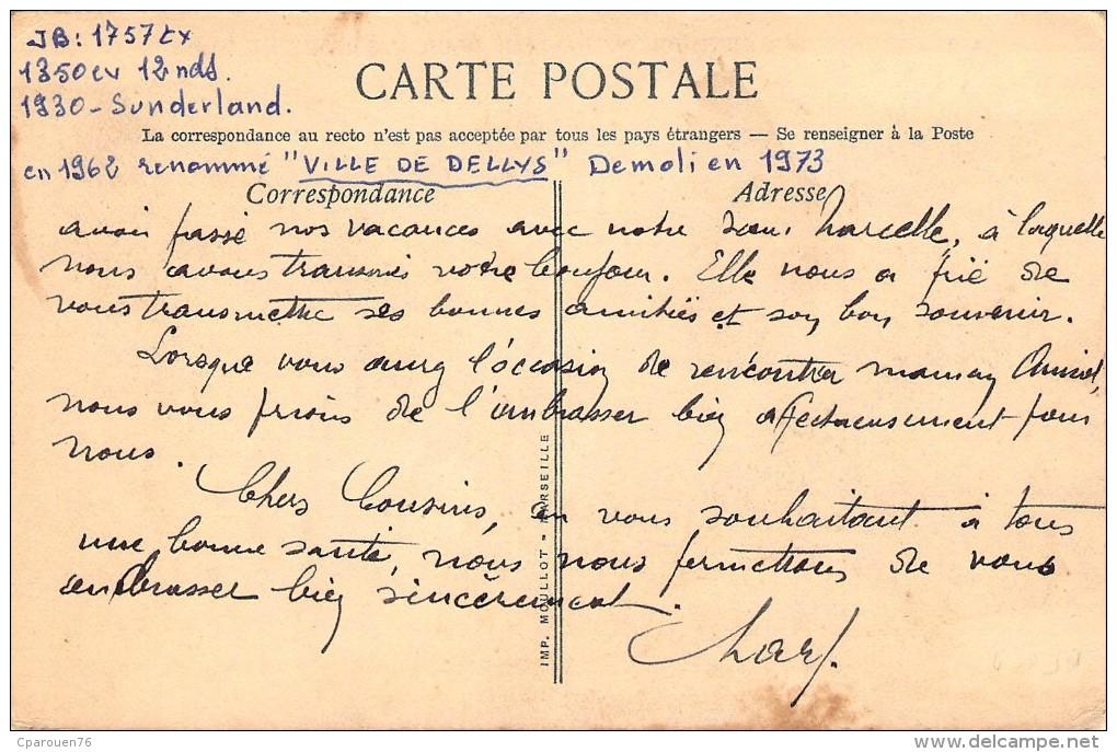 """Cpa Bateau """" Jacques  Schiaffino """" Société Algérienne De Navigation Pour L´Afrique Du Nord Sunderland 1930 - Cargos"""