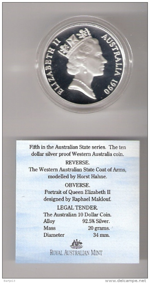 AUSTRALIE 10 DOLLARS 1990 AG PROOF THE WESTAUSTRALIAN STATE COAT OF ARMS - 10 Dollars