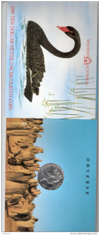 AUSTRALIE 10 DOLLARS 1990 AG UNCIRCULATED THE WESTAUSTRALIAN STATE COAT OF ARMS - Monnaie Décimale (1966-...)