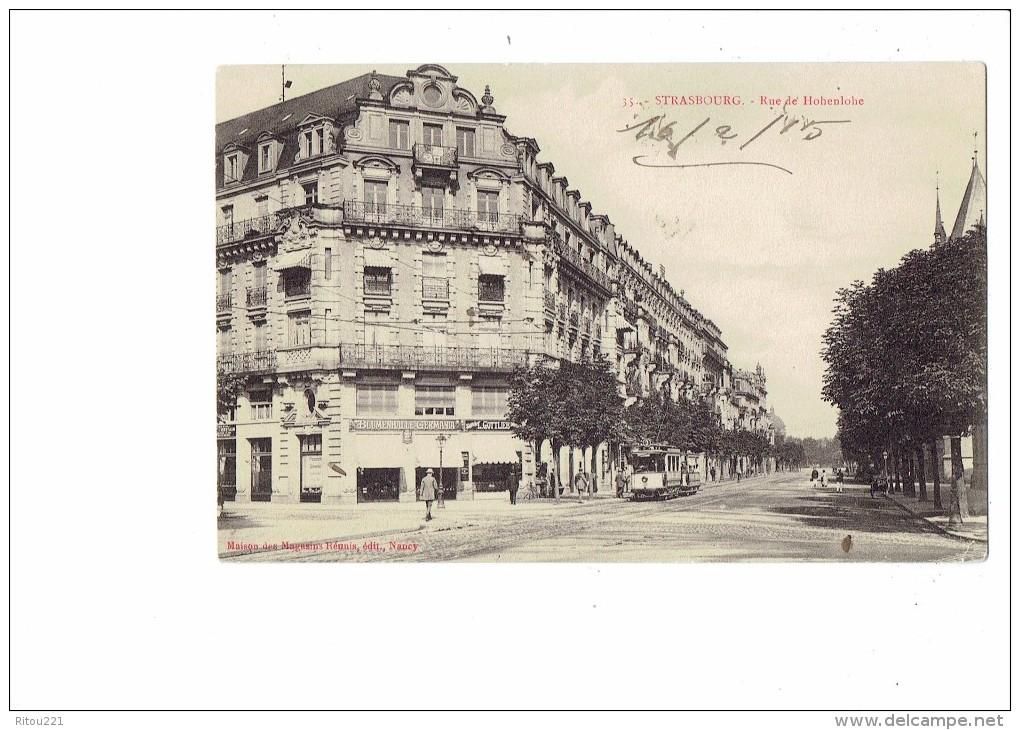 67 -  Strasbourg - Rue De Hohenlohe - N°35 - Blumenhalle Germania - Gottlier - Animation Tramway - 1915 - Strasbourg