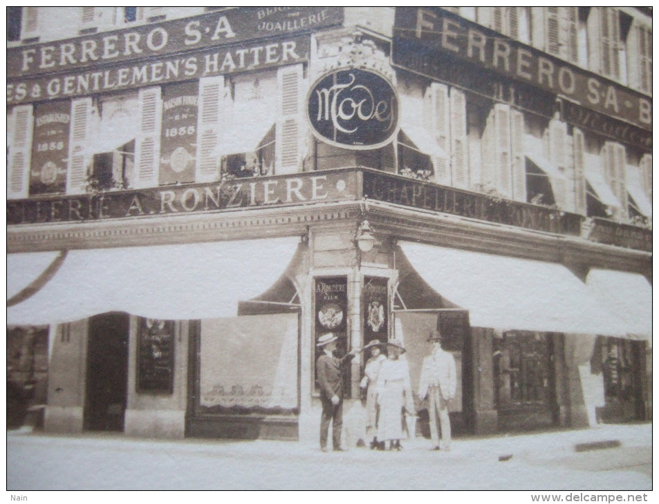 "SUISSE - PHOTO: 11,20 X 8,40 - MAGASIN : FERRERO S. A - "" A . RONZIERE "" - RUE DU RHONE - "" TRES RARE "" - - GE Genève"
