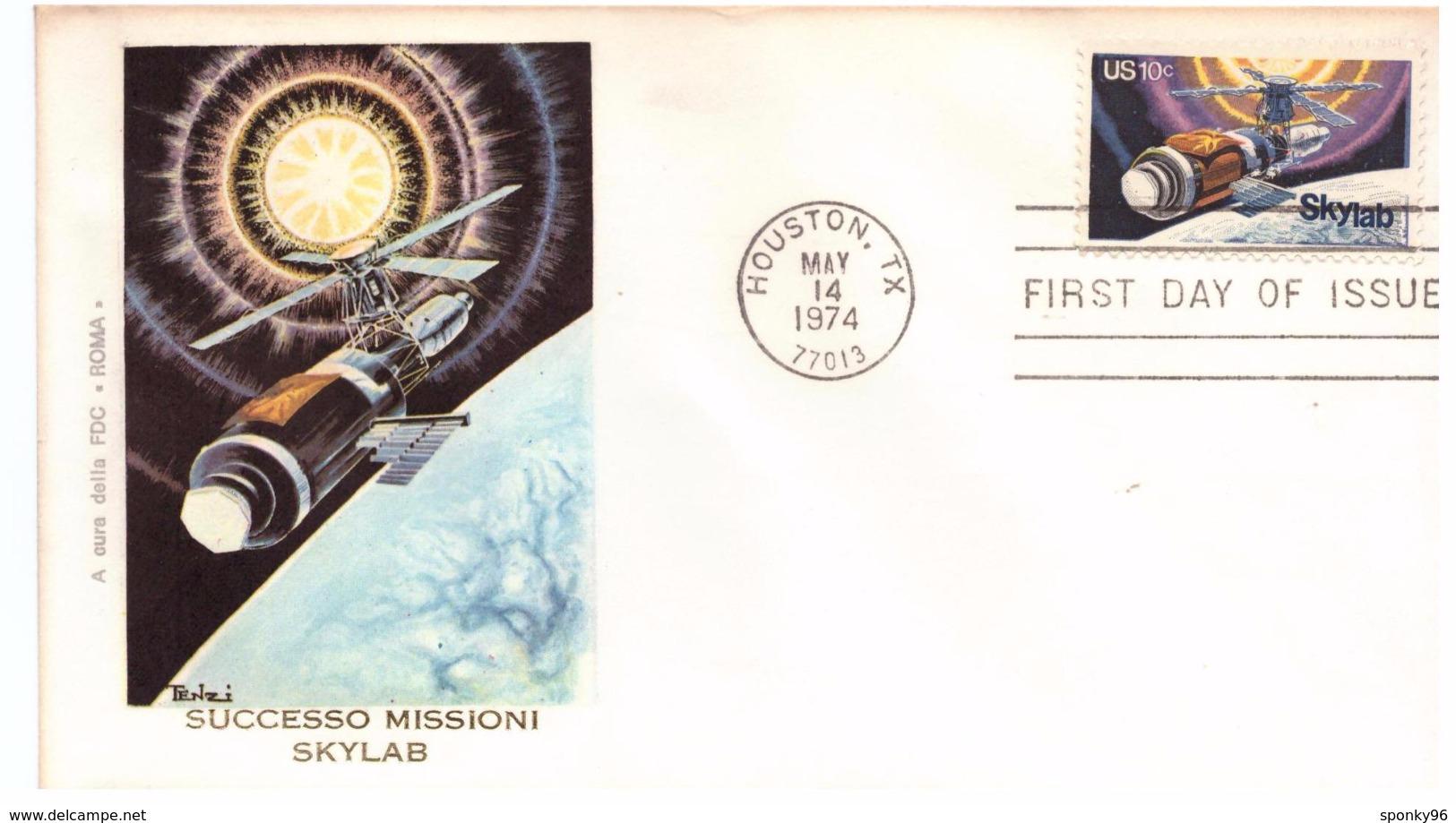 STORIA POSTALE - USA - FDC ROMA - ANNO 1974 - HOUSTON .TX - SUCCESSO MISSIONI SKILAB - - America Centrale